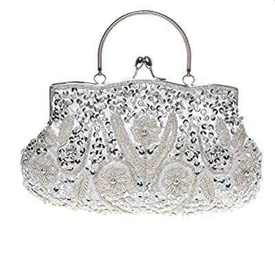 Fashion Road Evening Clutch, Womens Vintage Sequin Beaded Kissing Lock Clutch Purses For Wedding & Party