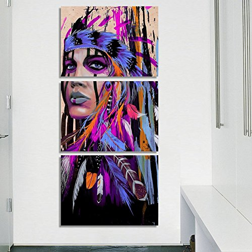 Modernism Abstract Purple Canvas Art Feathers Native Americans Feather Purple Painting on Canvas 3 PCS Artwork Indian Chief Western Wall Art Women Home Wall Decor Picture,Framed Stretched(28''Wx60''H) ()