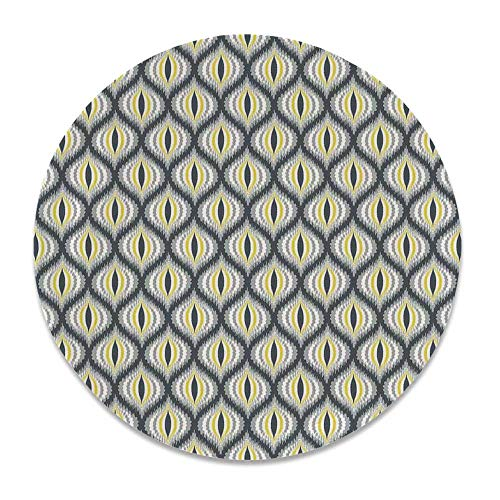 - YOLIYANA Ikat Decor Ceramic Decorative Plate,Wavy Round Colorful Damask Ikat Motifs Exotic Oriental Asian Style Decorative Home for Home Décor,8 inch