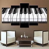 RMRM Lienzo Imágenes Wall Art HD Impreso Música Posters 5 Unidades Teclas de Piano Pinturas Moderna Decoración para el Hogar Sala de Estar Marco Modular 20x35cm20x45cm 20x55cm