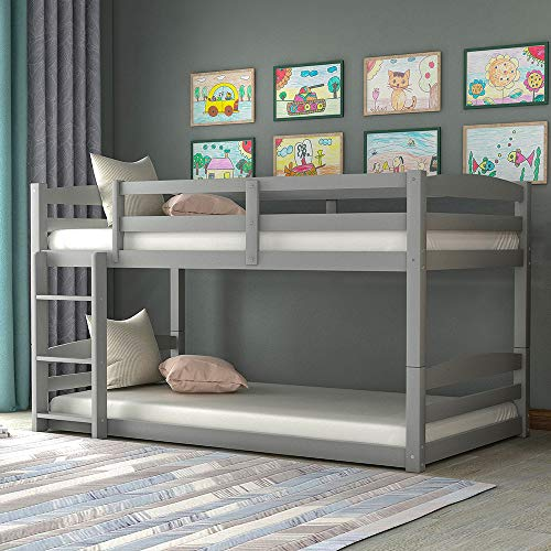 Harper&Bright Designs Solid Wood Twin Bunk Beds for Kids Toddlers Twin Over Twin Bunk Bed Frame with Built-in Ladders, Gray Bunk