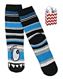 Monster Faces Big Boys' Boot Socks & Reusable Gift Bag 2 Item Multi-Pack (1 Eyed Monster)
