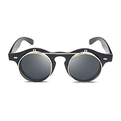 GUOHONG-CX Gafas De Sol De Moda Doble Concha Casual Gafas De Sol Retro Redondas