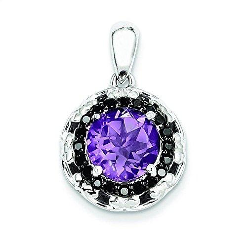 Argent 925/1000-Améthyste-Diamant-JewelryWeb Noir