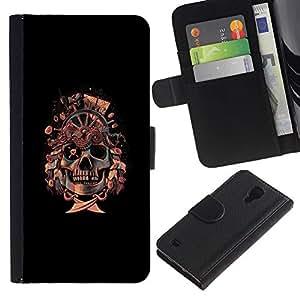 KLONGSHOP // Tirón de la caja Cartera de cuero con ranuras para tarjetas - Bandera pirata del cráneo de - Samsung Galaxy S4 IV I9500 //