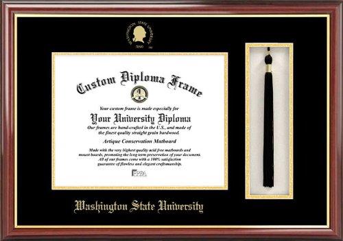 Laminated Visuals Washington State University Cougars - Embossed Seal - Tassel Box - Mahogany - Diploma Frame
