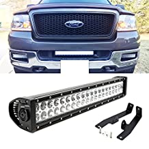 "iJDMTOY Complete 20"" 120W High Power LED Light Bar with Lower Bumper Grille Mounting Brackets and On/Off Switch Wiring Combo Kit For 2006-2008 Ford F-150"