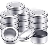 2 Ounce Metal Tin Cans Round Empty Container Cans with Clear Top for Kitchen, Office, Candles, Candies (12 Packs)