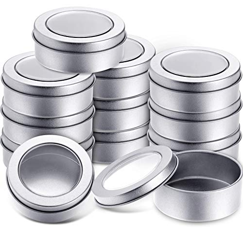 2 Ounce Metal Tin Cans Round Empty Container Cans with Clear Top for Kitchen, Office, Candles, Candies (12 Packs) ()