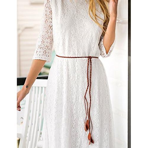 50%OFF Grapent Women's Lace Ivory Wedding 3/4 Sleeve A-line Maxi Bridal Shower Dress