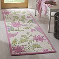 Safavieh Safavieh Kids Collection SFK351A Handmade Ivory and Pink Cotton Runner (23 x 9)