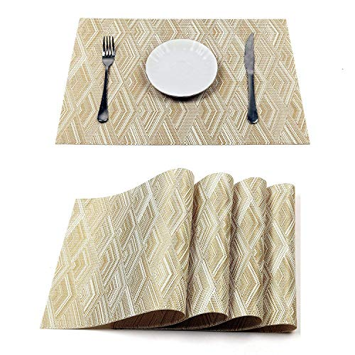 HEBE Placemats Set of 8 Heat Resistant Placemats for Dining Table Crossweave Woven Vinyl Washable Kitchen Table Mats Placemat Easy Clean(Gold) (Gold Placemats Christmas)