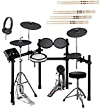Yamaha DTX532K Electronic Drum Kit with Bass Drum Pedal, Adjustable Height Drum Throne, On-Ear Stereo Headphones, and 4-Pairs of Vic Firth 5A Drumsticks
