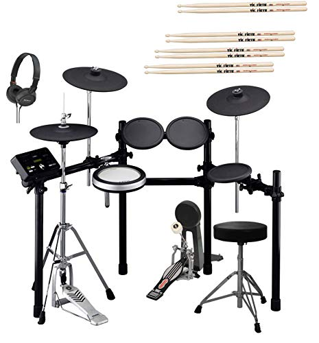 Yamaha DTX532K Electronic Drum Kit with Bass Drum Pedal, Adjustable Height Drum Throne, Sony On-Ear Stereo Headphones, and 4-Pairs of Vic Firth 5A Drumsticks