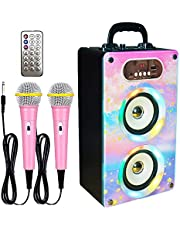 $43 » KaraMuizi Bluetooth Karaoke Machine for Kids and Adult, Wooden Wireless Speaker with LED Music Speaker MP3 Player with 2 Microphones for Party Birthday Gift