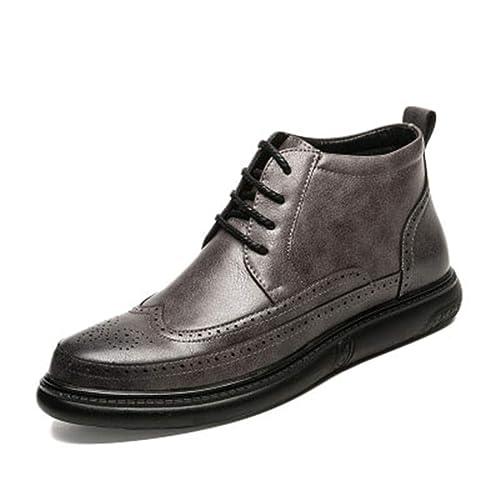 Botas De Cuero para Hombre OtoñO Invierno Botines con Cordones Calzado Zapatillas De Deporte Escolares con El Calzado Impermeable Botas Cortas CóModas: ...