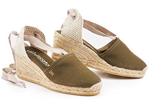 VISCATA Escala 2.5 Heel, Soft Ankle-Tie, Closed Toe, Classic Espadrilles Heel Made in Spain Olivgrün