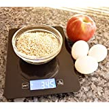 AcuHealth Smart Digital Nutrition Scale with iOS & Android Smartphone and Tablet Devices Analyzes Nutrients for Over 9000 Different Foods ( Black )