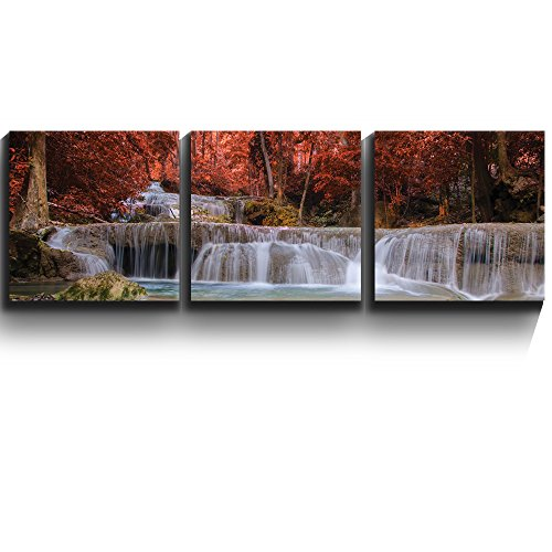 3 Square Panels Contemporary Art Secluded waterfall surrounded by exquisite red trees Three Gallery ped Printed Piece 6 x3 Panels