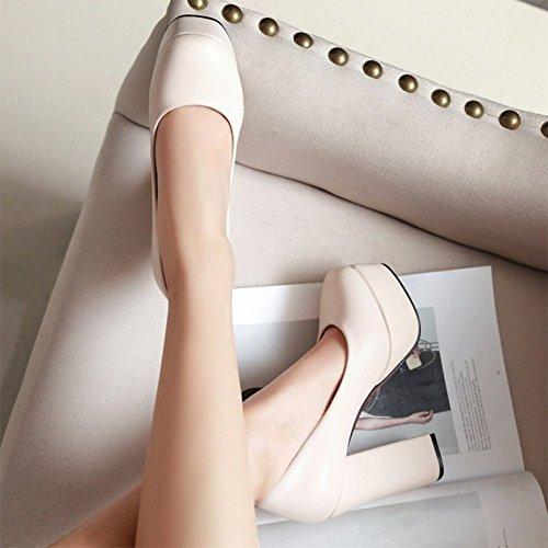 Easemax Femmes Élégantes Bout Rond Slip Sur Plate-forme Haute Bloc Talons Pompes Chaussures Beige