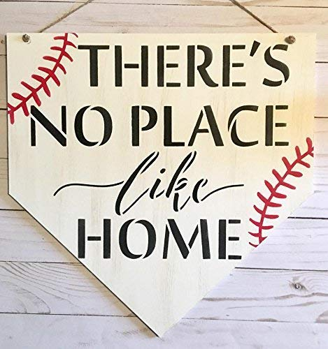 Baseball Home Plate Door Hanger, There's No Place Like Home Baseball Wall Sign - Sports Decoration