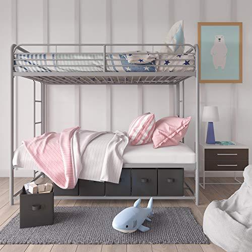 DHP-Bonnie-Twin-Bed-with-Storage-Bins-Bunk-Silver