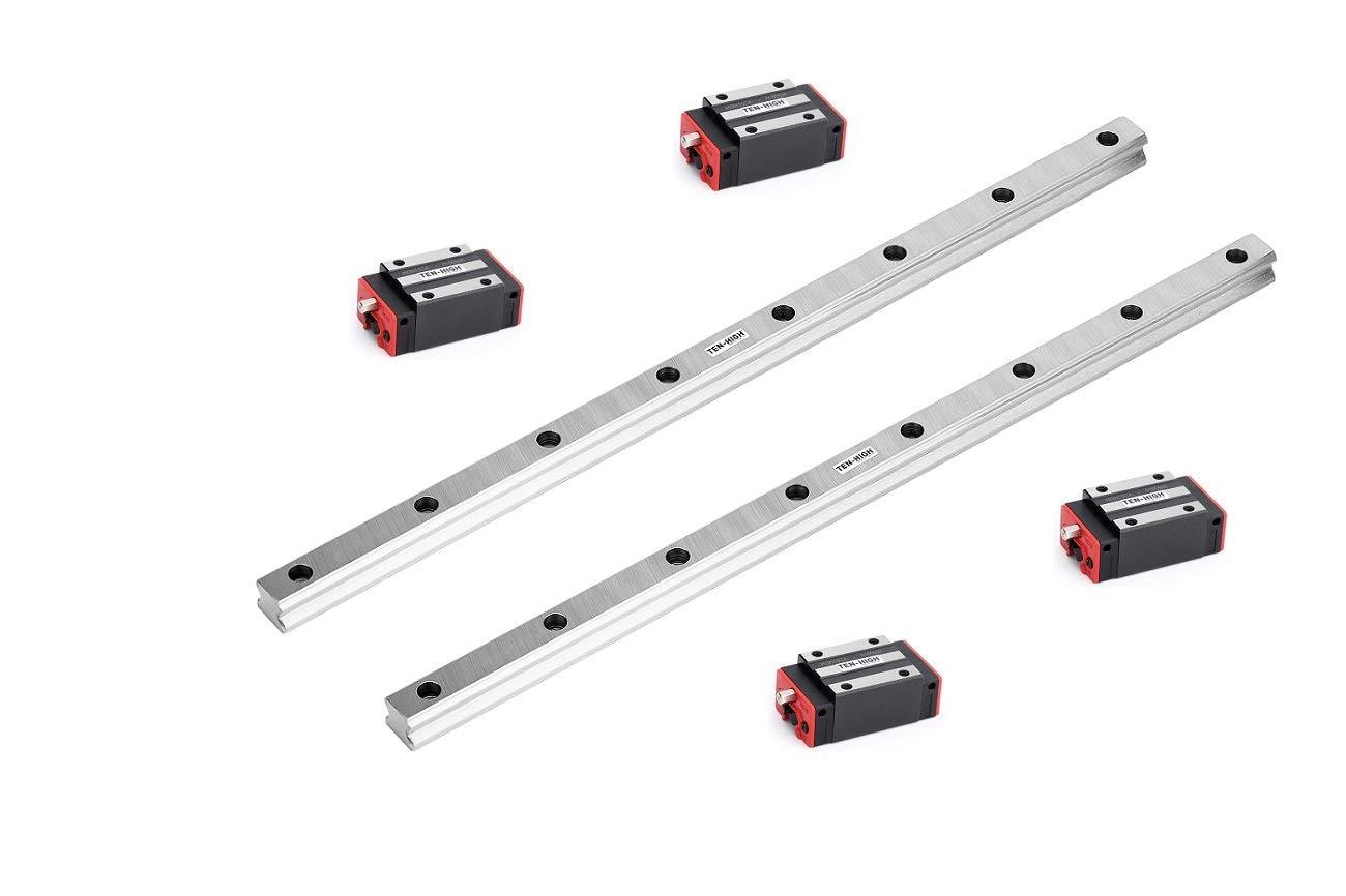 Set 25-250mm 2x Linear Guideway Rail 4x Square type carriage bearing block CNC