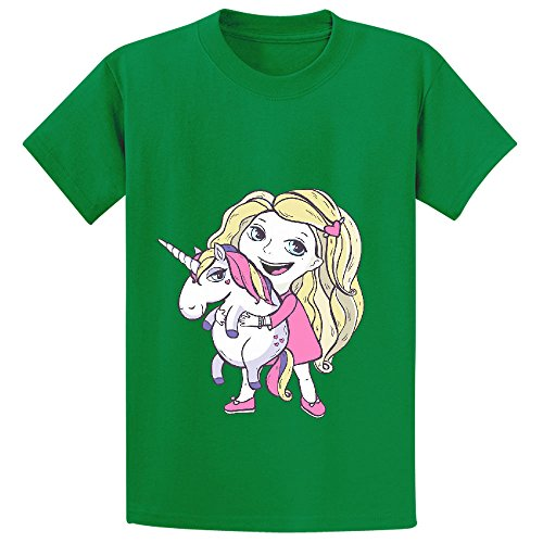 Snowl Girl And Unicorn Youth Crew Neck Graphic T Shirts Green