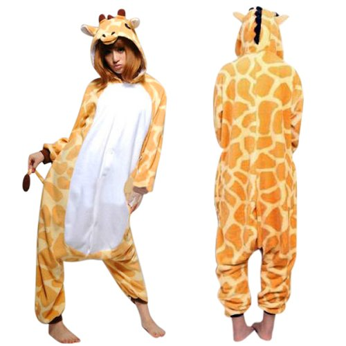 7b8688e79ec1 Amazon.com  WOWcucos Unisex Adult Giraffe Onesies Animal Cosplay Costume  Halloween Xmas Pajamas  Clothing