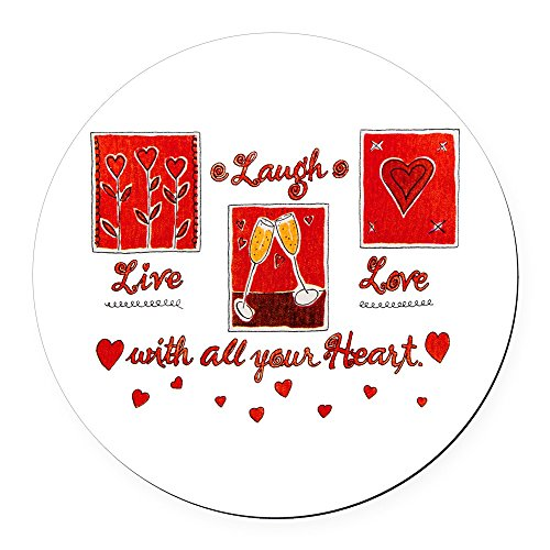 Round Car Magnet 5.5 Inch Laugh Live Love With Your Heart