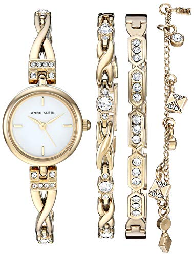 Anne Klein Women's AK/3082GPST Swarovski Crystal Accented Gold-Tone Watch and Bracelet Set