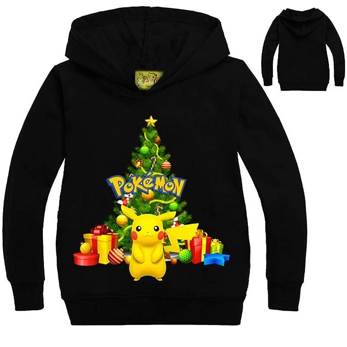 Unisex Pokemon Suéter con Estampado Navideño para niños Jersey Informal Moda Sudadera con Capucha niños y Adolescentes Abrigo Largo y Holgado: Amazon.es: ...
