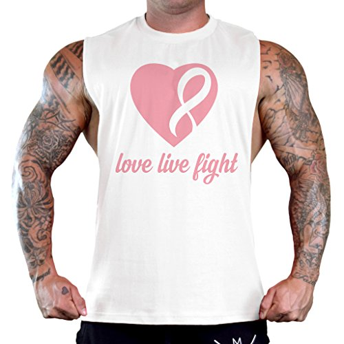 Men's Love Live Fight Breast Cancer Ribbon Heart Tee B1047 PLY White T-Shirt Tank Top 2X-Large