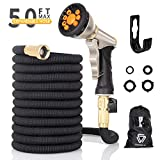 Vigorun 50 ft Expandable Garden Hose with 9 Spray Nozzle, Leakproof Durable Flexible Garden Water Hose with Solid Brass Connector for Gardening Car Washing Pet Bathing (50ft)