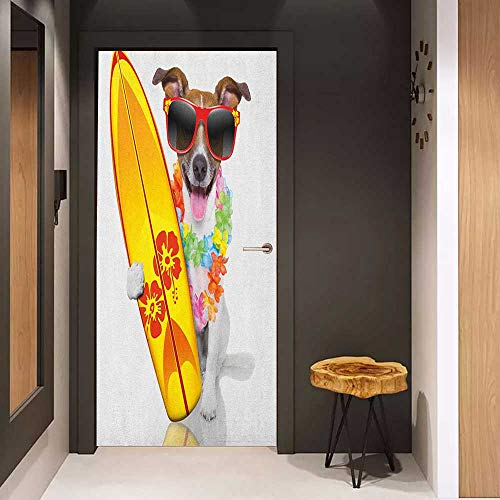 (Onefzc Door Wall Sticker Ride The Wave Surfer Puppy with Sunglasses and Tropical Hibiscus Flowers Hawaiian Dog Print Mural Wallpaper W30 x H80 Multicolor)