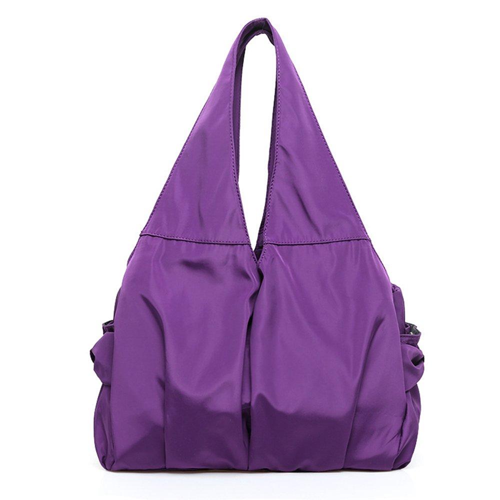 Women Shoulder Bag Handbag Tote Large Capacity Water-Resistant Shopper Nylon Multi Zipper Pockets (Deep Purple)