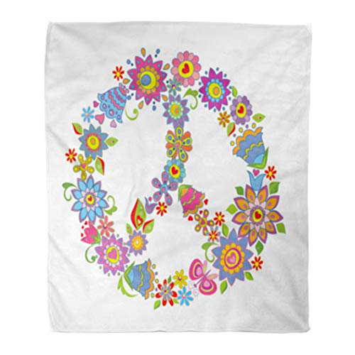 Golee Throw Blanket Sign Peace Flower Symbol 1960S Clipart Hippie 1970S 70S Bright 60x80 Inches Warm Fuzzy Soft Blanket for Bed - Sign Peace Fleece