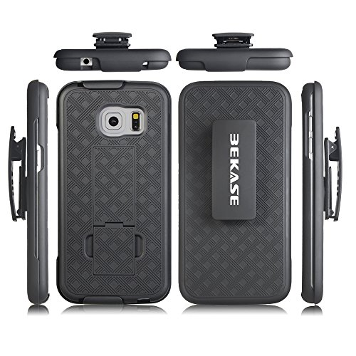 BEKASE (TM) Hard Shell Holster Combo Matte Finish Protective Slim Case for Samsung Galaxy S7 Edge with KickStand & Locking Belt Swivel Clip - Black - Kickstand Combo