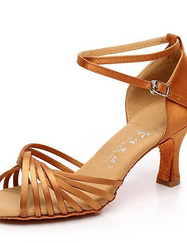 Customizable Non Shangyi Shoes Satin Flocking Black Dance Latin Salsa Flared Brown Women's Heel aZSxnqwZ