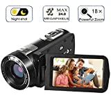 Digital Camcorder with IR Night Vision, WEILIANTE Full HD Digital Video Camera 24.0Mega Pixels 18X Digital Zoom Mini DV (Two Batteries included)