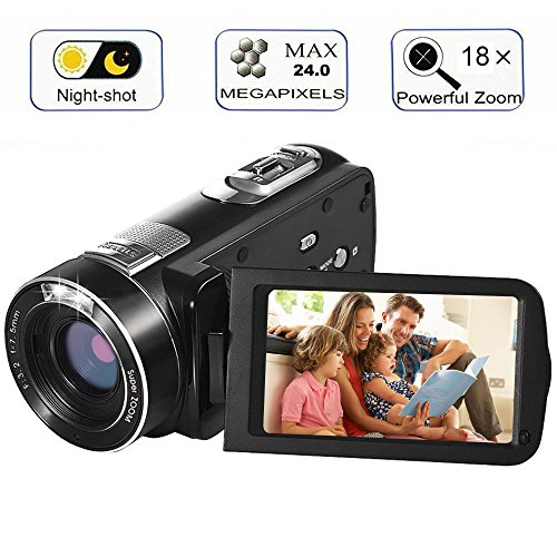 Digital Video Camera Camcorders With IR Night Vision 24.0 Mega pixels, WEILIANTE Portable Mini Handheld Camcorder HD 1080P Max. DV 3″ LCD Screen 16X Zoom (Two Batteries Included)