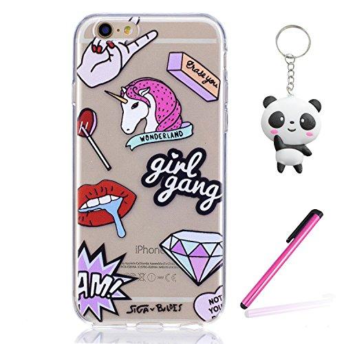 iPhone 6 Plus / 6S Plus Hülle Diamond Einhorn Premium Handy Tasche Schutz Transparent Schale Für Apple iPhone 6 Plus / 6S Plus + Zwei Geschenk
