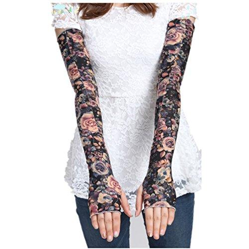 Women's Super Long Fingerless Anti-uv Sun Protection Golf Driving Sports Arm Sun Sleeves Gloves - Women With Tattoos