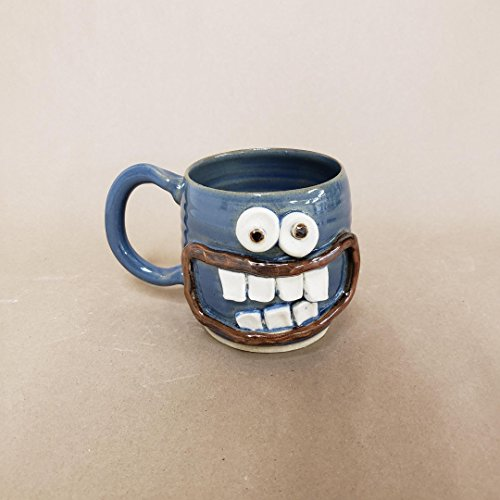 Handmade Pottery Coffee Cup. Smiley Face Ug-Chug Mug. 14-18 Ounces. Blue. Hot Cold Beverage. Microwave and Dishwasher Safe Stoneware Clay.