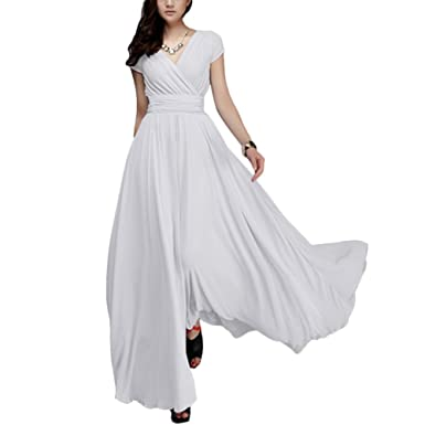 32a83fb8c34 OwlFay Summer Maxi Long Chiffon Dresses for Women Casual Formal Wedding  Bridesmaid Wrap Party Dresses Pageant