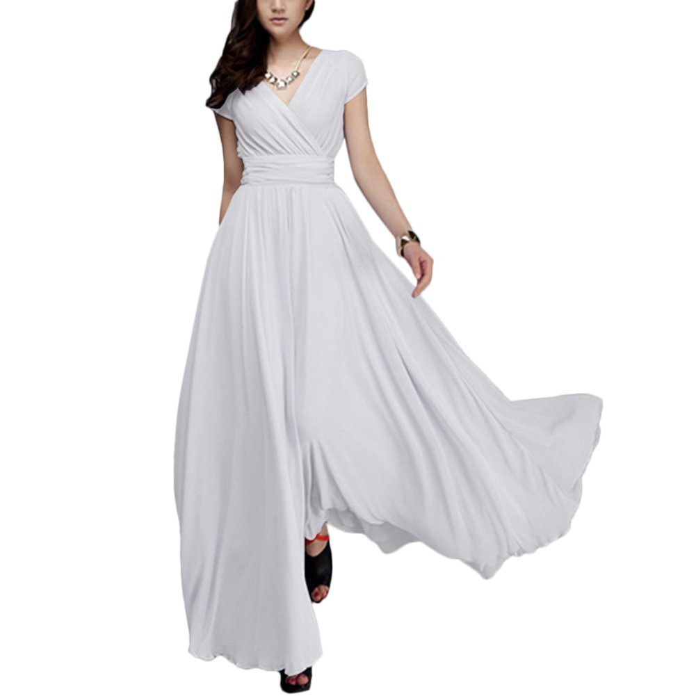OwlFay Summer Maxi Long Chiffon Dresses for Women Casual Formal Wedding Bridesmaid Wrap Party Dresses Pageant Cocktail Evening Prom Swing Gown White 2XL
