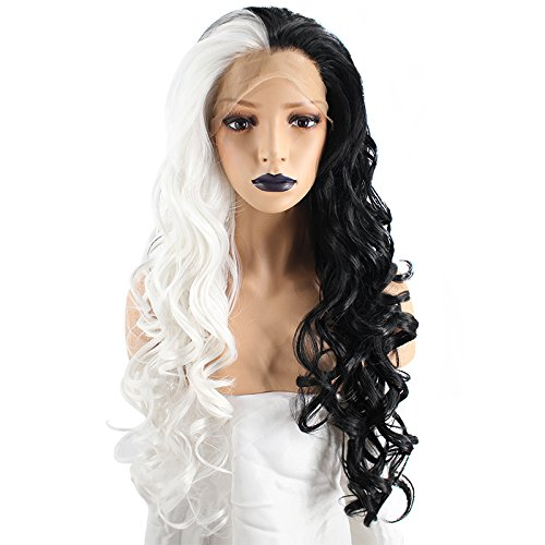 Price comparison product image Anogol Hair Cap+Black and White Lace Front Wig Long Wavy Synthetic Hair Replacement Wigs For Women Fancy Dress