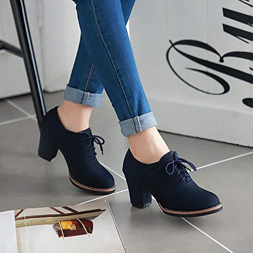 Moontang Nero Thick Flock Dimensione Womens Uk Boots colore High Solid Blu 5 Stivaletti up A Rotonda Lace 6 Punta Scarpe Square BqpBwC