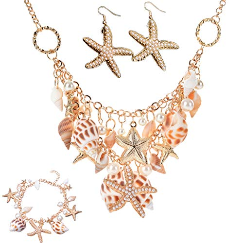 Set of 3 Ocean Beach Jewelry Sets Fashion Sea Shell Starfish Faux Pearl Collar Bib Statement Chunky Necklace Earrings Bracelet]()