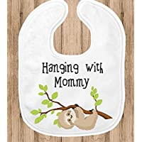 Baby Bib - Sloth Hanging with Mommy - Zoo Nursery Decor